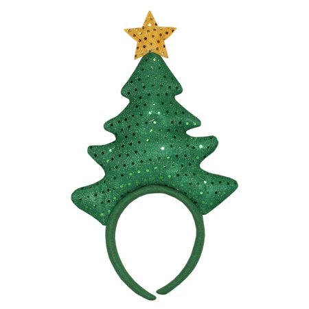 "14"" Green Sequin Christmas Tree with Yellow Star Headband Costume Accessory - Star Head"
