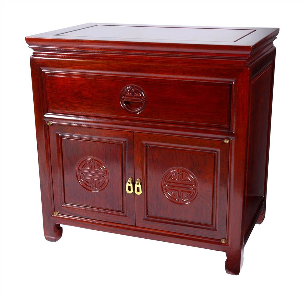 Oriental Hand Finished Bedside Cabinet (Cherry)