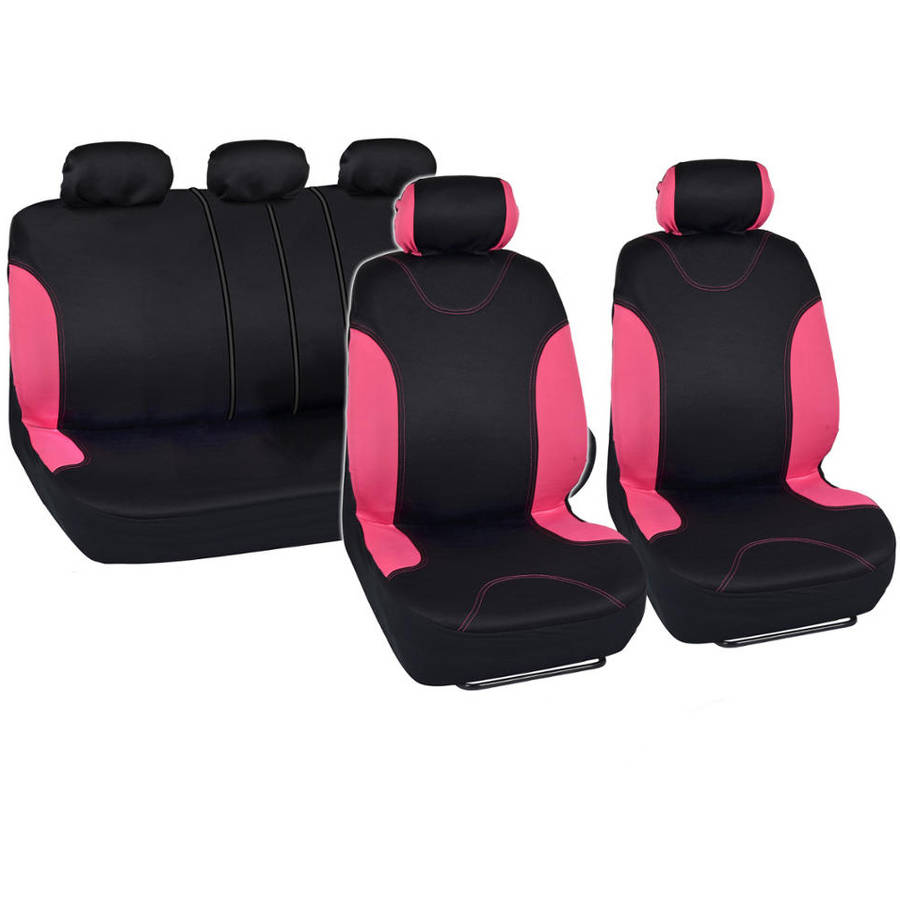 BDK Stylish Design Car Seat Covers with Floor Mats and Stering Wheel Cover Full Set