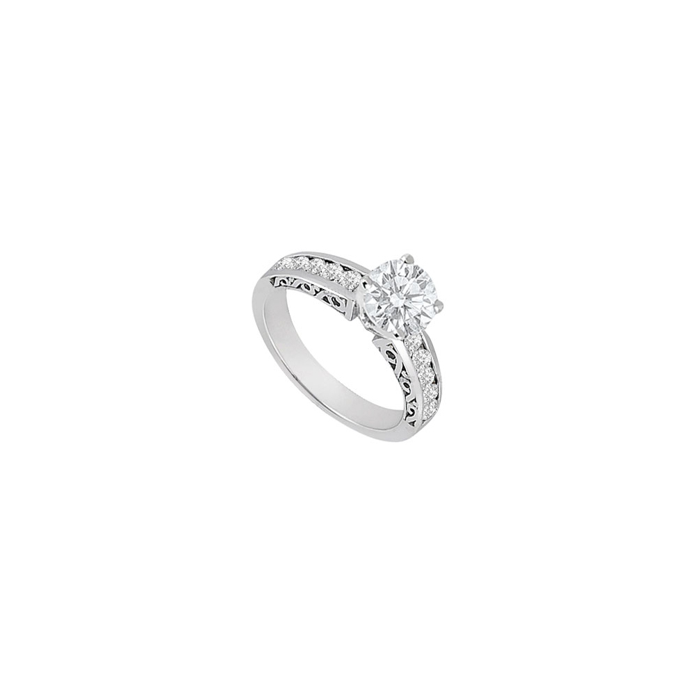 Cubic Zirconia Engagement Ring in 14K White Gold 1 Carat Total Gem Weight - image 2 of 2