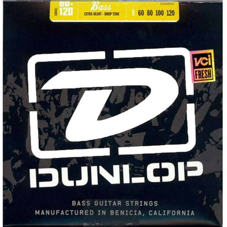 Dunlop DBN60120 Nickel Extra Heavy 4 String Stainless Steel Bass Guitar Strings .60-.120