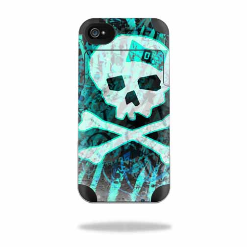 Mightyskins Protective Vinyl Skin Decal Cover for Mophie Juice Pack Air Apple iPhone 4/4S Battery Case wrap sticker skins Zebra Skull