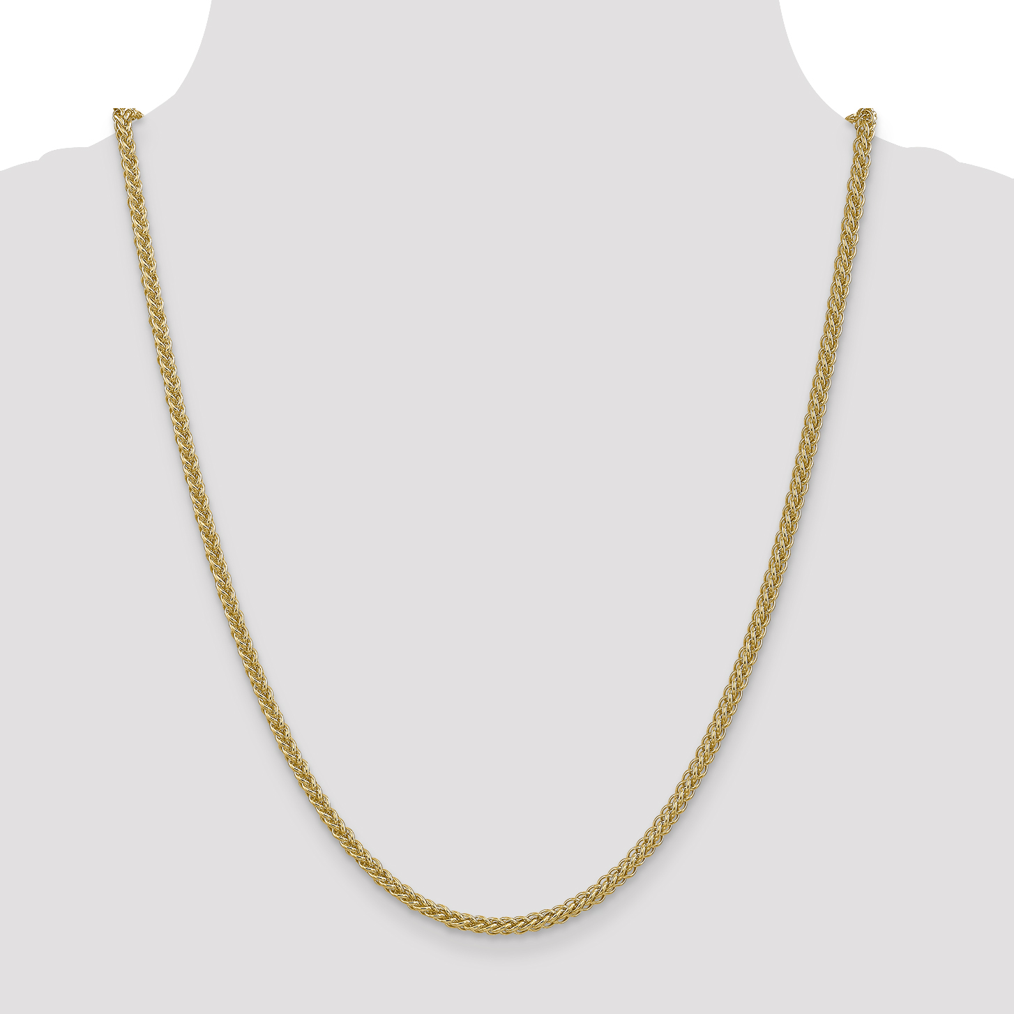 14K Yellow Gold 2.60mm Semi-solid 3-Wire Wheat Chain 18 Inch - image 2 of 5
