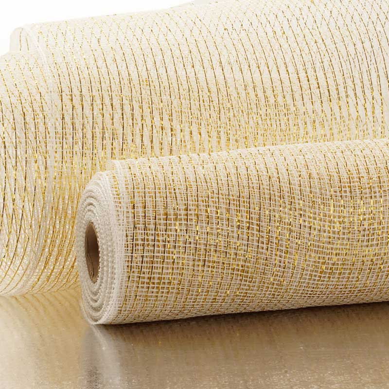 "10"" X 10 Yards White/Gold Metallic Striped Deco Mesh by Paper Mart"