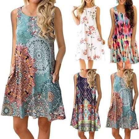 Women Fashion Sleeveless O-neck Print Casual Loose Mini Dress Summer Party Dress Animal Print Mini Dress