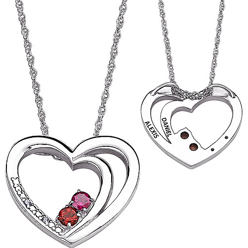 Personalized 3.5mm Round Genuine Birthstone and Diamond Accent Couples Name Sterling Silver Heart Pendant, 20""