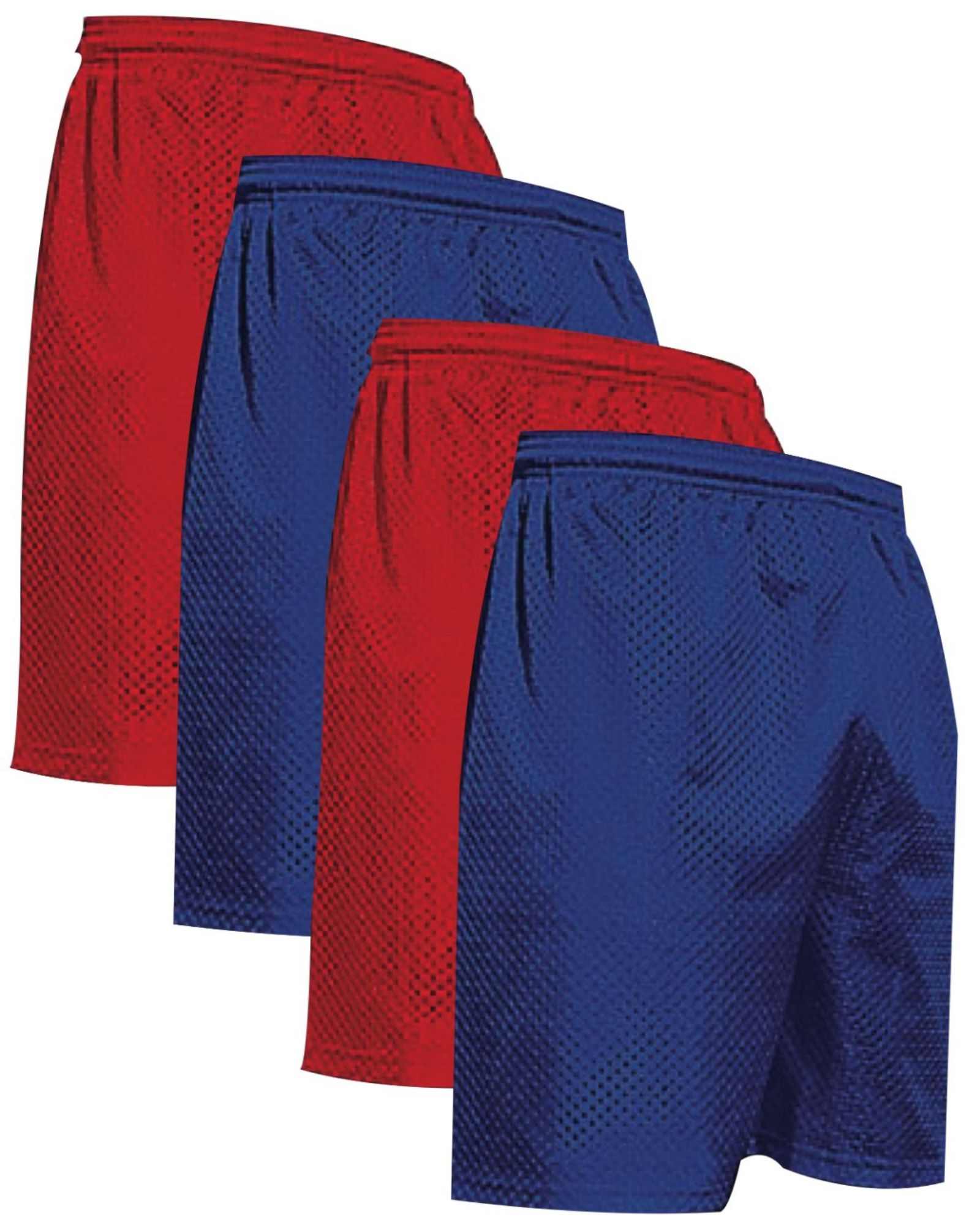 "VALUE PACK  > BUY 2 GET 2 FREE >  4 PACK > THE RAM BRAND > Men's  9"" Performance Pro Mesh Gym Champ Shorts (XS-4XL) $10 S/H is on the 1st Pack only. In this Pack: (3XL)(2Red/2Royal)"