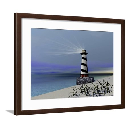 A Lighthouse Sends Out a Light To Warn Vessels Framed Print Wall Art By Stocktrek Images