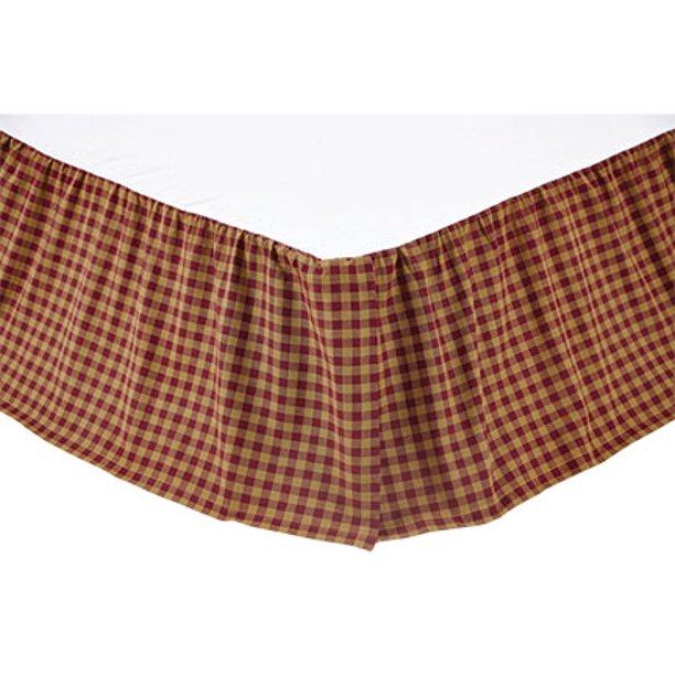 Vhc Brands Check 16 Inch Drop Bed Skirt Burgundy Queen Walmart Com Walmart Com