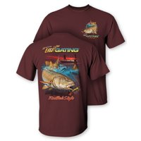 "Follow the Action Redfish ""Tail""Gating Two-Sided Short Sleeve Fishing T-Shirt (Medium)"