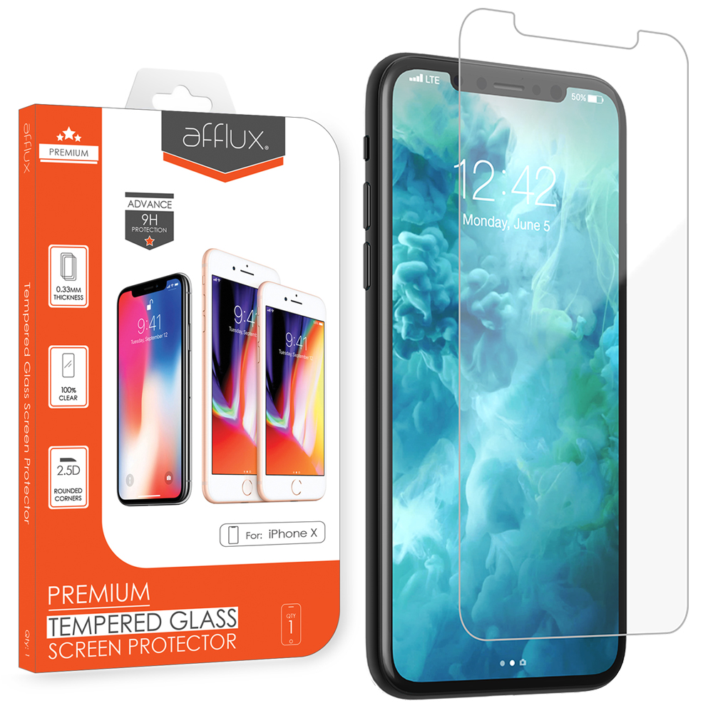 Afflux Tempered Glass Screen Protector For Apple iPhone X Film Guard Case Friendly For iPhone 10 5.8 inch