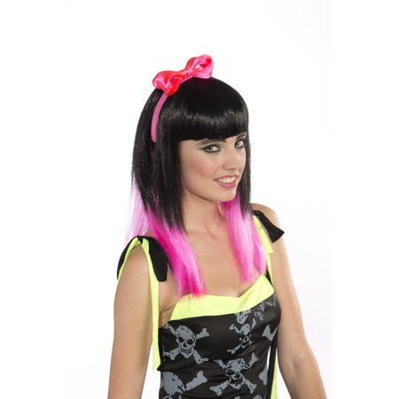 Womens 80s Style Punk Rocker Costume Neon Pink Headband With Bow (Punk Rocker Outfits)