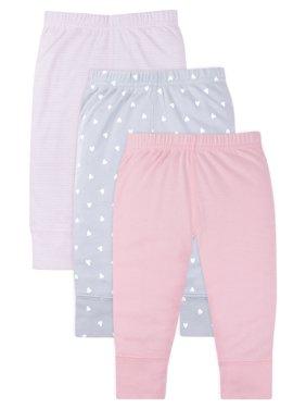 Little Star Organic Baby Girl Newborn Essentials Knit Pants, 3-Pack
