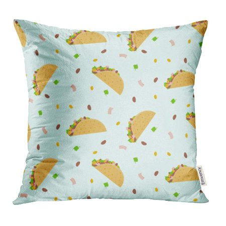 EREHome Cute Cartoon Colorful Mexican Food Tacos Corn Lettuce Bean Nice Pillowcase Cushion Cases 20x20 inch - image 1 of 1