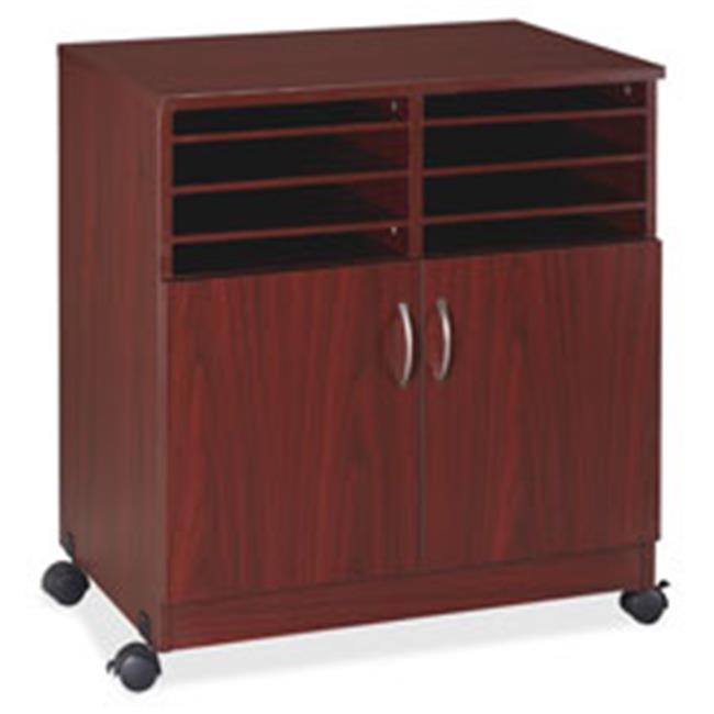 Mobile Machine Stand with Sorter, 19.75 in. x 30.5 in. x 28 ft., Mahogany