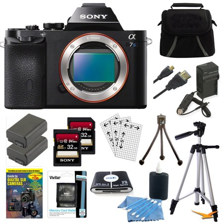 Sony Alpha a7S ILCE7S/B ILCE7S ILCE7SB Compact Interchangeable Lens Digital Camera Bundle with Qty 2 32GB SDHC Card, Qty 2 Spare Batteries, Rapid AC/DC Charger, HDMI Cable, Case, LCD Screen Protector
