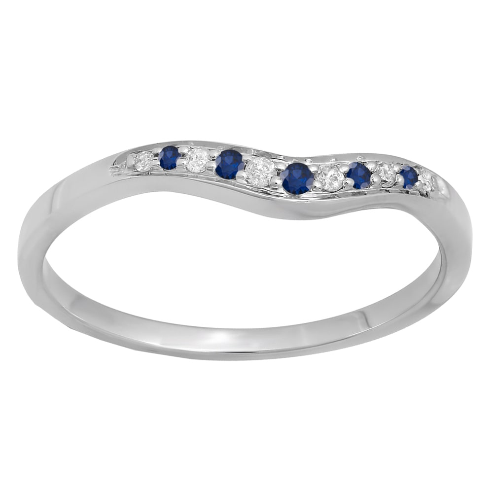 Elora 14k Gold 1/10ct Round Blue Sapphire and White Diamond Wedding Stackable Guard Band (I-J, I2-I3)