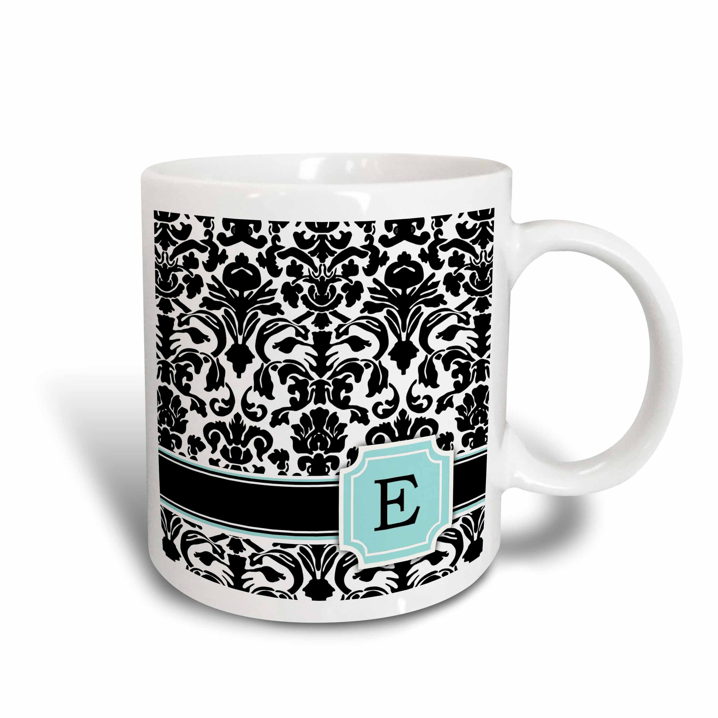 3dRose Letter E personal monogrammed mint blue black and white damask pattern - classy personalized initial, Ceramic Mug, 11-ounce