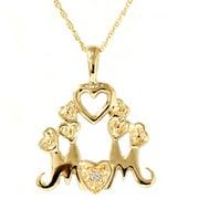 14K Diamond Heart MOM Love Pendant Necklace & Chain
