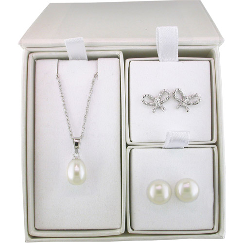 Cultured Freshwater Pearl Sterling Silver 3-Piece Pendant and Earrings Gift Set with Box