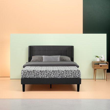 Zinus Dori Square-Stitched Upholstered Wingback Platform Bed, Multiple Sizes