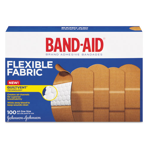 "BAND-AID Flexible Fabric Premium Adhesive Bandages, 3/4"" x 3"", 100/Box"
