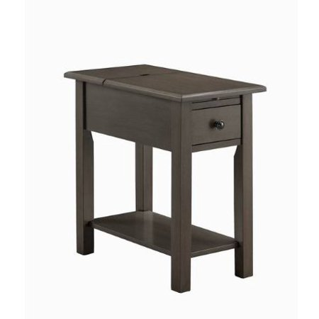 - ModHaus Living Modern Brushed Gray Wood Accent Side End Table with Hidden USB Ports Charging Station 1 Drawer and Lower Shelf - Includes Pen