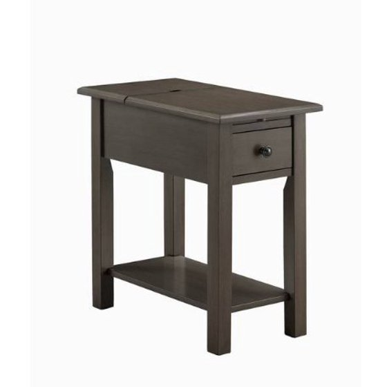 Modhaus Living Modern Brushed Gray Wood Accent Side End Table With