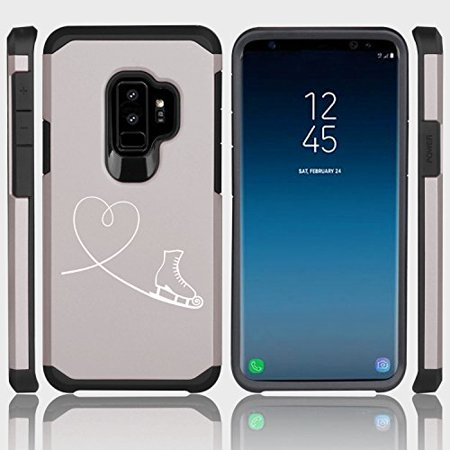 For Samsung Galaxy Shockproof Impact Hard Soft Case Cover Heart Love Ice Skating (Silver for Samsung Galaxy S9+ (Plus)) ()