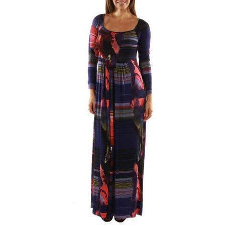 24/7 Comfort Apparel Women's Turn on the Heat Abstract Maxi Dress