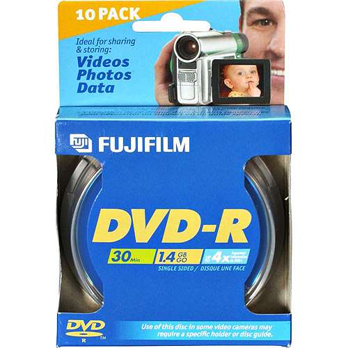 Fujifilm 25302410 8cm DVD-R 10-disk Spindle Pack - 1.4gb 30 Minutes 4x