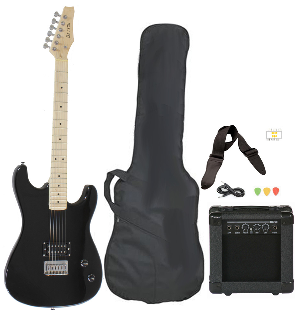 Davison Guitars Electric Guitar Black Full Size With Amp Case Cord Strap And Picks by Davison Guitars