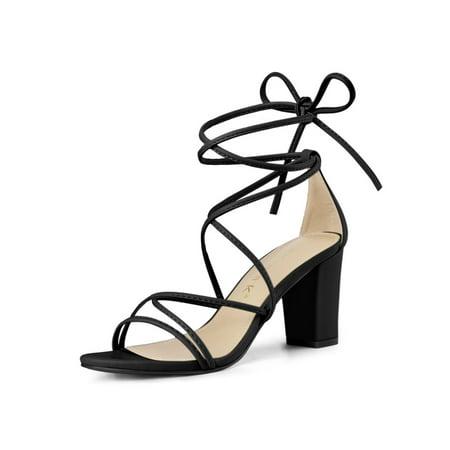 Women's Open Toe Strappy Lace Up Block Heel Sandals Black (Size