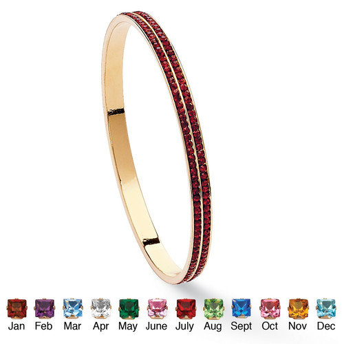 Palm Beach Jewelry Gold Plated Double-Row Birthstone Bracelet