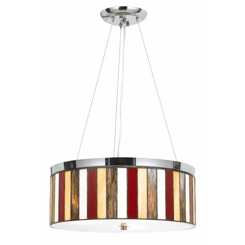 "Cal Lighting 47"" Tiffany Pendant in Chrome by CAL Lighting"