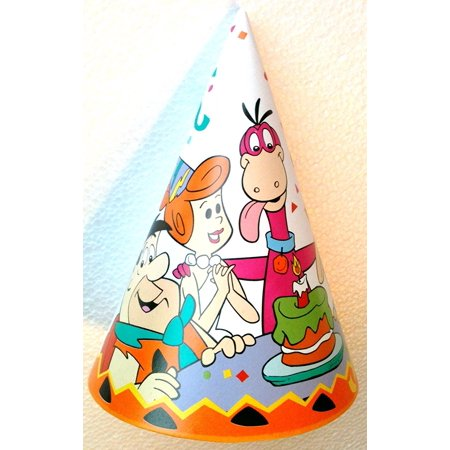 THE FLINSTONES Party Hat FRED, WILMA, DINO, BARNEY & BETTY (Pack of 8) by, Vintage THE FLINTSTONES Party Hats (Pack of 8 Hats) By The Flintstones