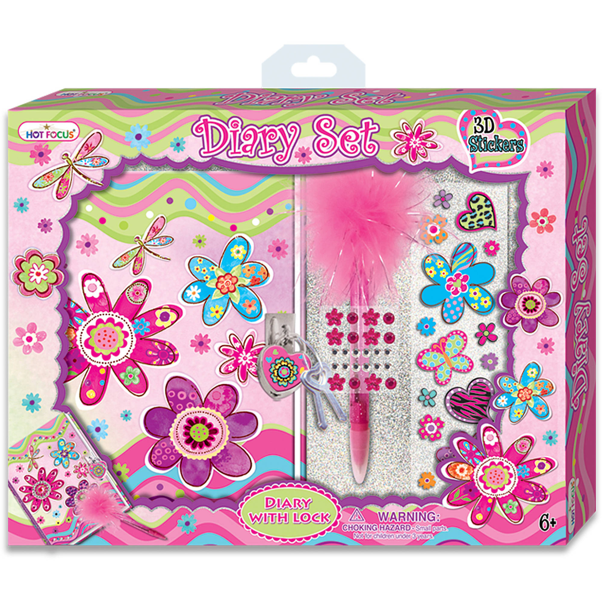 Hot Focus Diary Set with 3D Stickers, Flower Meadow