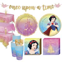 Party City Disney Princess Snow White Tableware Supplies for 24 Guests, Includes Cups, Cutlery, Napkins, Plates, Decor