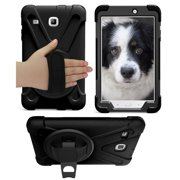 Galaxy Tab E 8.0 SM-T377 Case Cover by KIQ Shockproof Heavy Duty Shield Palmstrap Kickstand Screen Protector (Black)