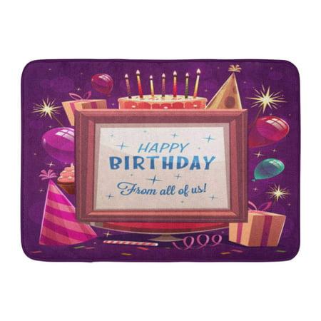 GODPOK Party Colorful Cartoon Happy Birthday Purple Retro Cake Rug Doormat Bath Mat 23.6x15.7 inch