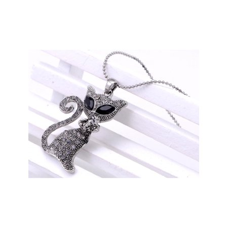 Siamese Kitty Cat Collar Jet Gunmetal Eye Crystal Rhinestone Pendant Necklace