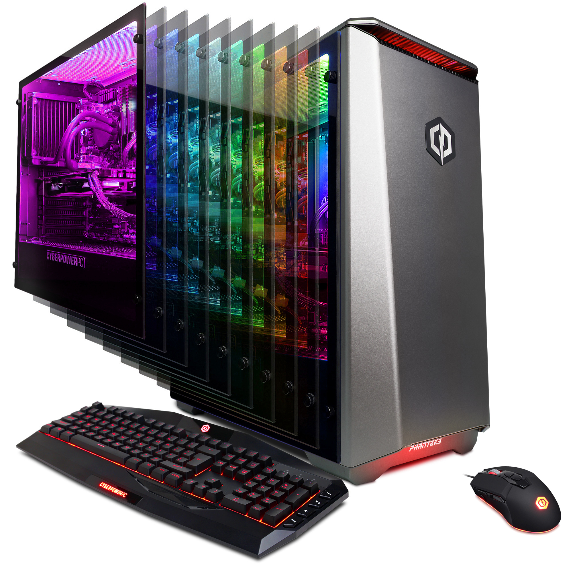 CYBERPOWERPC Gamer Panzer Limited PL3600W Gaming Desktop PC with Liquid Cooled Intel i7+ 8086K Processor, 16GB DDR4, NVIDIA GeForce GTX 1070 8GB, 1TB HDD + 16GB Optane, WiFi and Win 10 Home 64-Bit