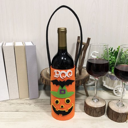 Halloween Non-Woven Wine Bottle Bag Candy Bag with Handle Halloween Party Costumes Supplies Decorations--Pumpkin](Pumpkin Halloween Drinks)