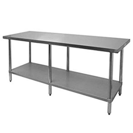 Thunder Group SLWT43096F, 30x96x35-Inch 430 Stainless Steel Flat Top Worktable, Food Prep Table, Commercial Kitchen Work Table ()