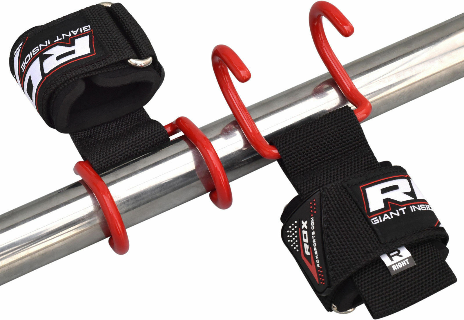 RDX Weight Lifting Wrist Support Straps Bar Hook Grip Gym Powerlifting Hooks Red