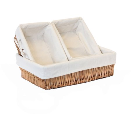Baum Lined Willow Storage Baskets, Set of 3, Oak