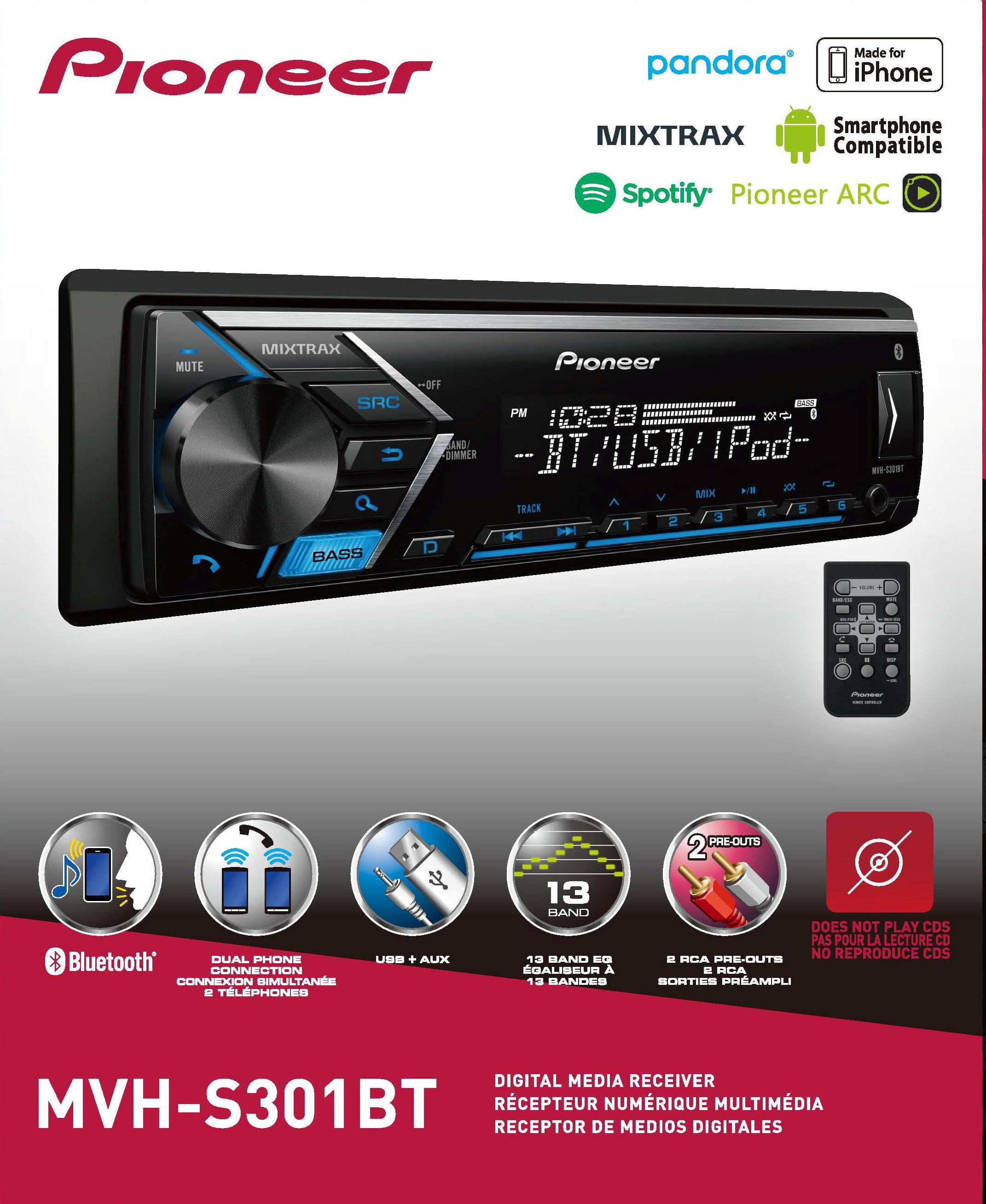 Pioneer MVH-S301BT Digital Media Receiver with Bluetooth by Pioneer