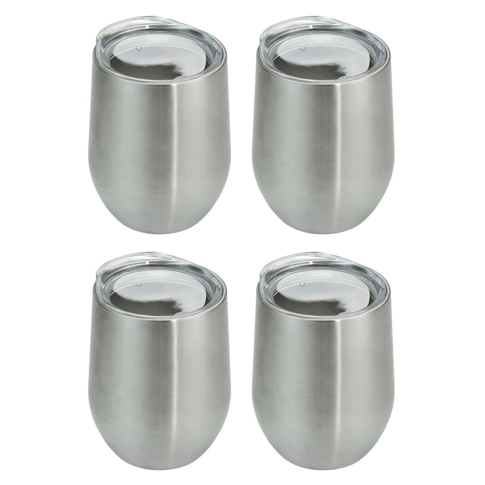 Southern Homewares Stainless Stemless Double Wall Wine Glass, Set of 4