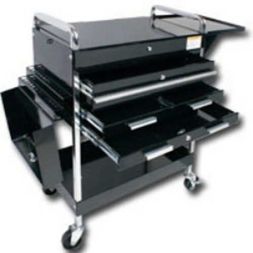 Sunex Tools 8013ABKDELUXE Deluxe Service Cart With Locking Top, 4 Drawers and extra storage - Black