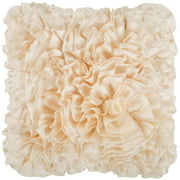"18"" Ivory Lush Ruffle Decorative Throw Pillow"